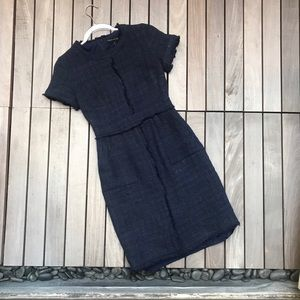 BANANA REPUBLIC Navy Round Neck Zip Up Tweed Dress